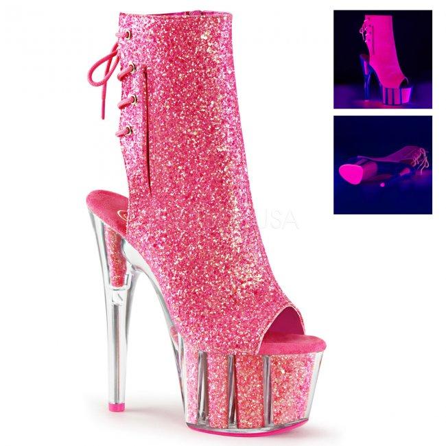 růžové UV kotníkové kozačky s glitry Adore-1018g-npn - Velikost 36
