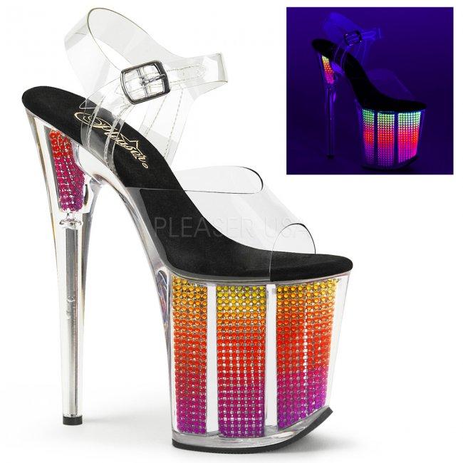 vysoké UV sandály s kamínky v platformě Flamingo-808srs-cnmc - Velikost 40