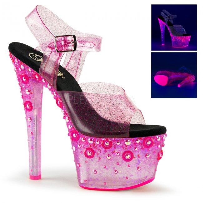 růžové vysoké UV dámské sandály s glitry Sky-308uvmg-pnt - Velikost 35