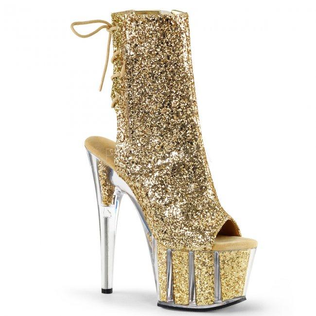 zlaté kotníkové kozačky s glitry Adore-1018g-g - Velikost 38