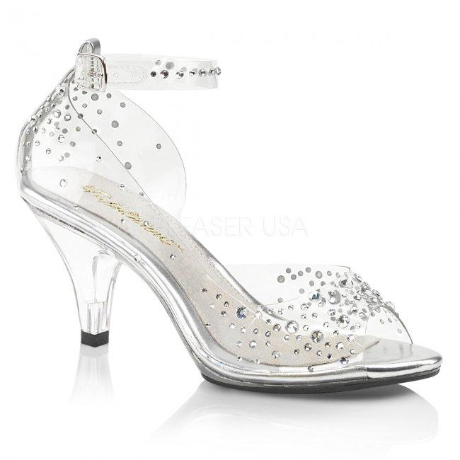 dámské průhledné sandálky s kamínky Belle-330rs-c - Velikost 43