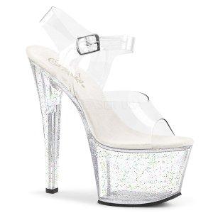 průhledné vysoké dámské sandály s glitry Sky-308mg-c