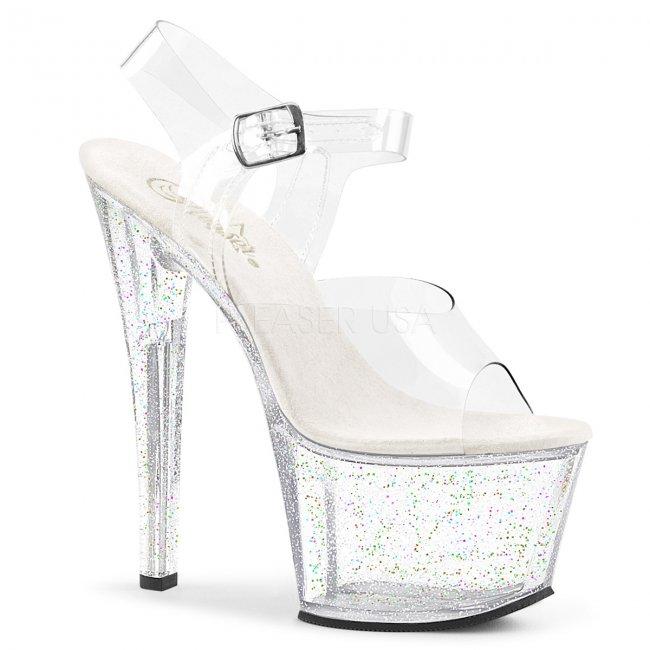 průhledné vysoké dámské sandály s glitry Sky-308mg-c - Velikost 41