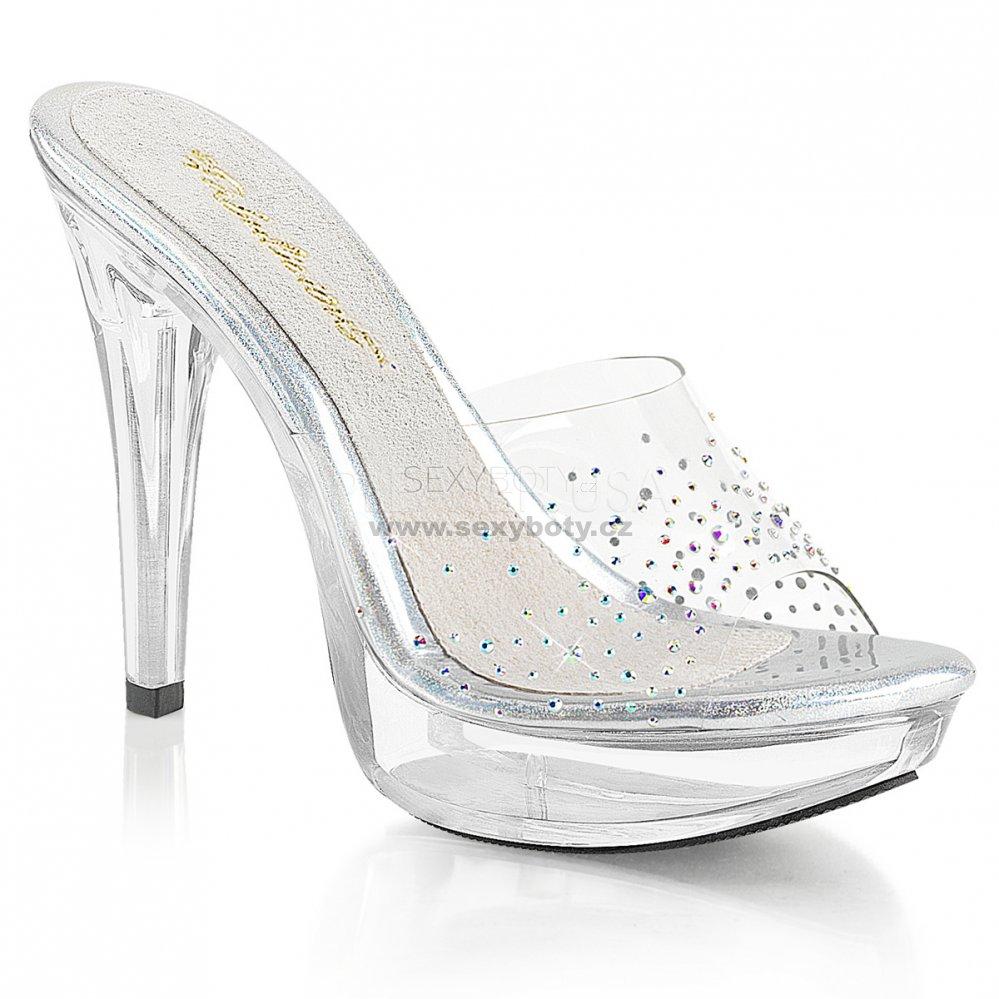 průhledné dámské pantofle s kamínky Cocktail-501sd-c - Velikost 42 ... 7600a087fa