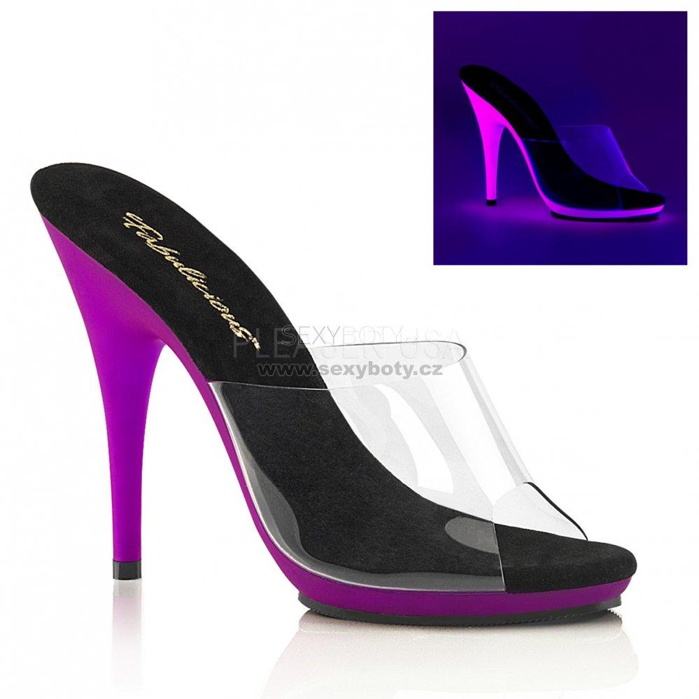 fialové dámské pantofle s UV efektem Poise-501uv-cnpp - Velikost 38 ... d9e92eb82a