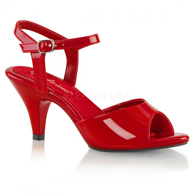 červené dámské sandálky Belle-309-r - Velikost 45
