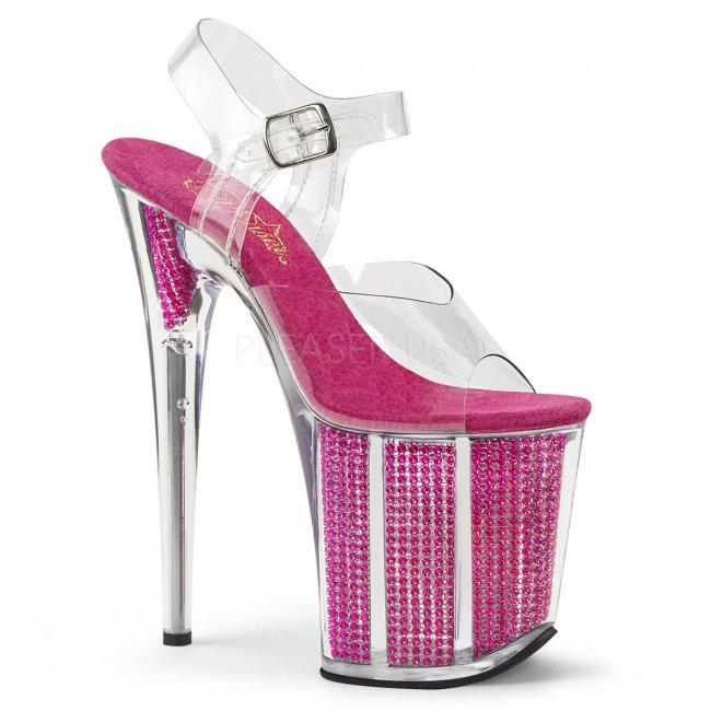 růžové sandály s kamínky v platformě Flamingo-808srs-cfs - Velikost 36