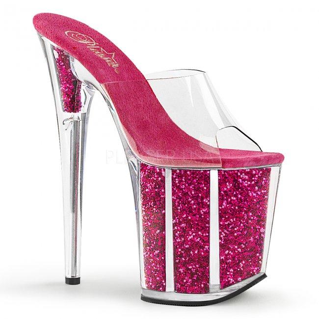 extra vysoké nazouvací pantofle s glitry Flamingo-801g-chpg - Velikost 37
