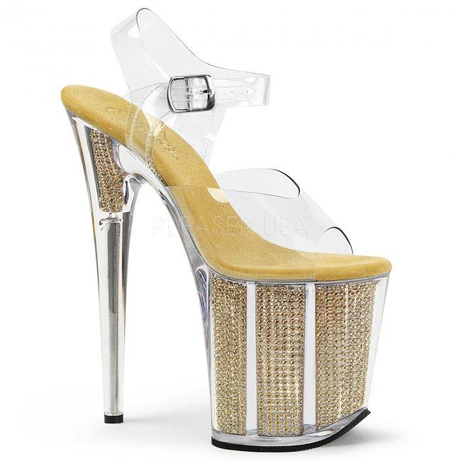 zlaté vysoké sandály s kamínky v platformě Flamingo-808srs-cg - Velikost 37