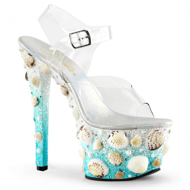 vysoké dámské sandály na platformě Sky-308mermd-clblg - Velikost 39