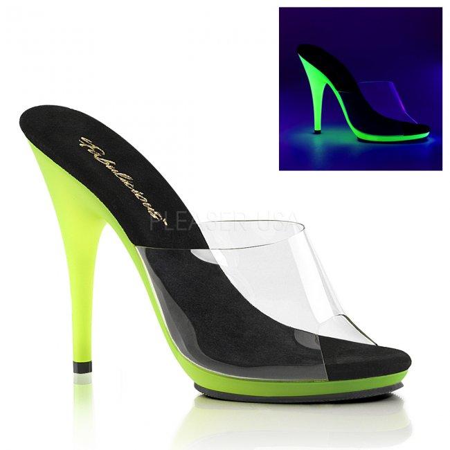 zelené dámské pantofle s UV efektem Poise-501uv-cnlm - Velikost 38
