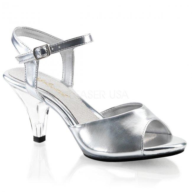 dámské stříbrné sandálky Belle-309-smpuc - Velikost 45