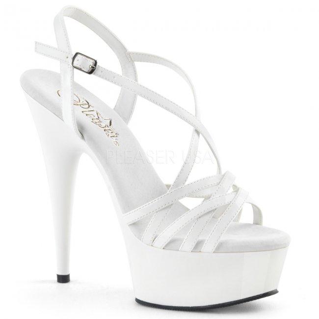 bílé páskové sandálky na platformě Delight-613-w - Velikost 38