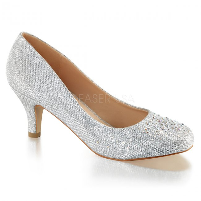 stříbrné dámské lodičky s kamínky a glitry Doris-06-sgfa - Velikost 35