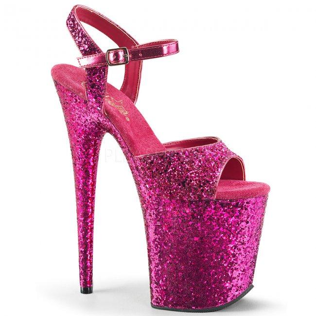 růžové sandálky na extra vysoké platformě s glitry Flamingo-810lg-hpg - Velikost 38