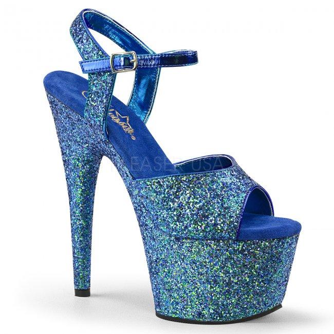 modré dámské sandály s glitry na vysoké platformě Adore-710lg-blg - Velikost 41