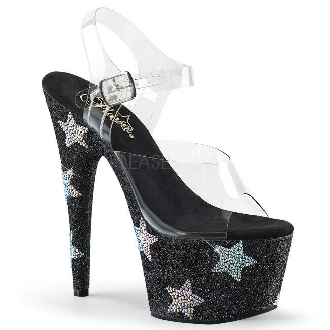 dámské sandálky s kamínky a glitry na platformě Adore-708star-cbgabrs - Velikost 38