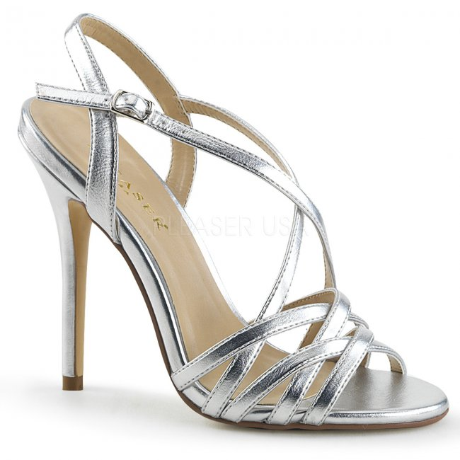 stříbrné dámské společenské sandálky Amuse-13-smpu - Velikost 42
