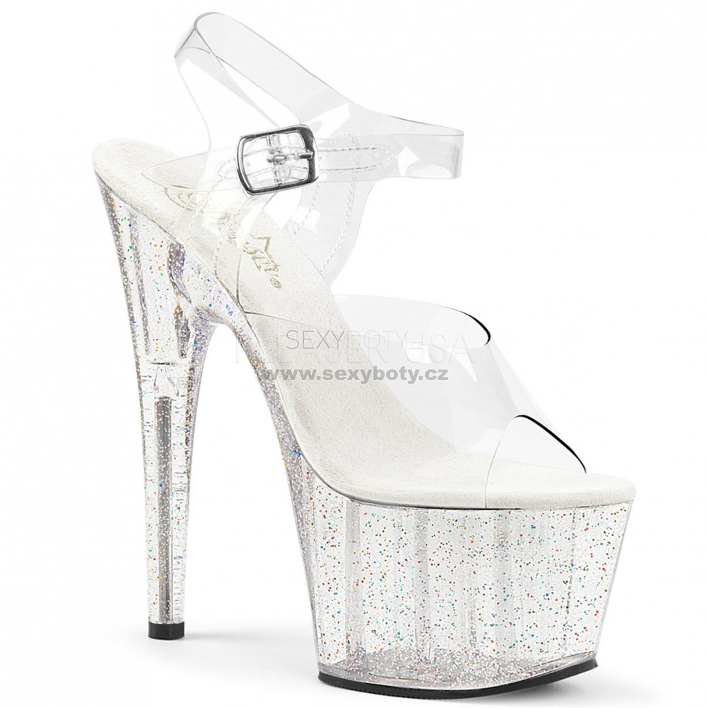 průhledné dámské sandály na vysoké platformě s glitry Adore-708mg-c -  Velikost 40 95378579cf
