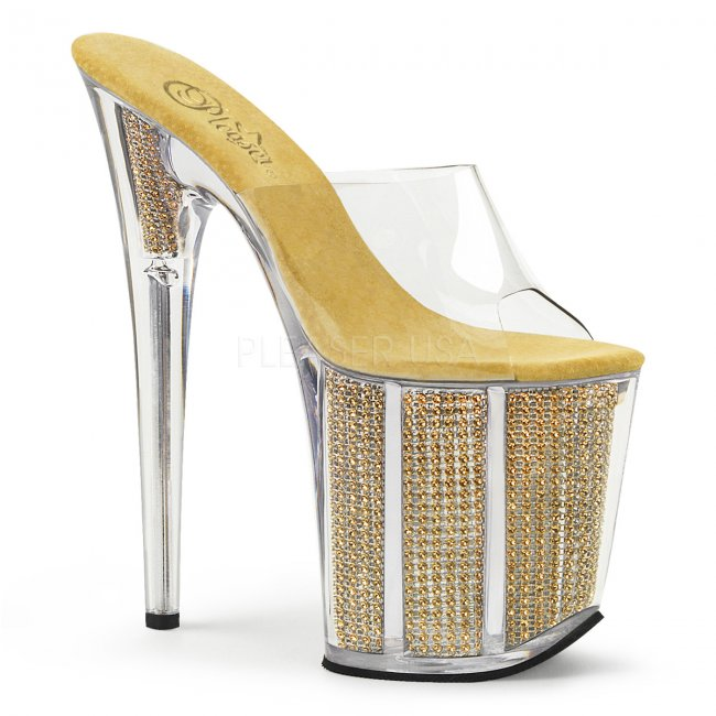 extra vysoké zlaté nazouvací pantofle s kamínky Flamingo-801srs-cg - Velikost 39