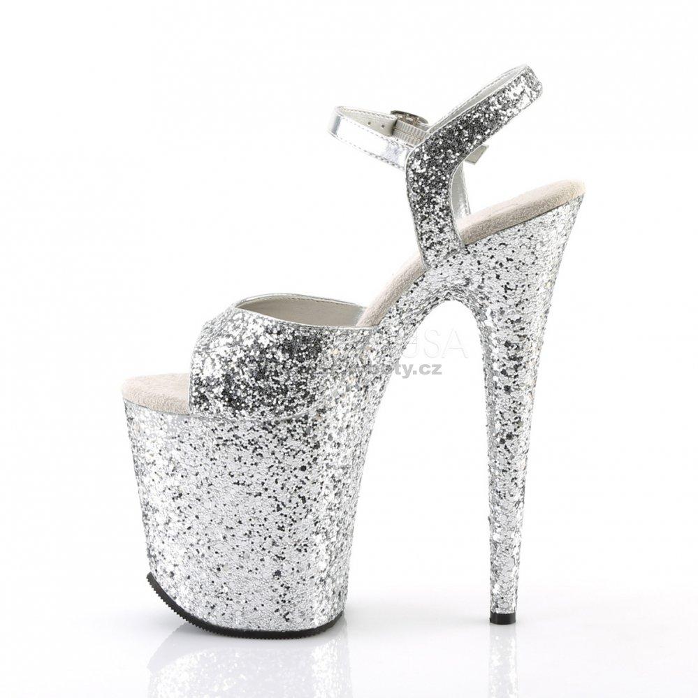 stříbrné sandálky na extra vysoké platformě s glitry Flamingo-810lg-sg - Velikost  35 2e37e6408c