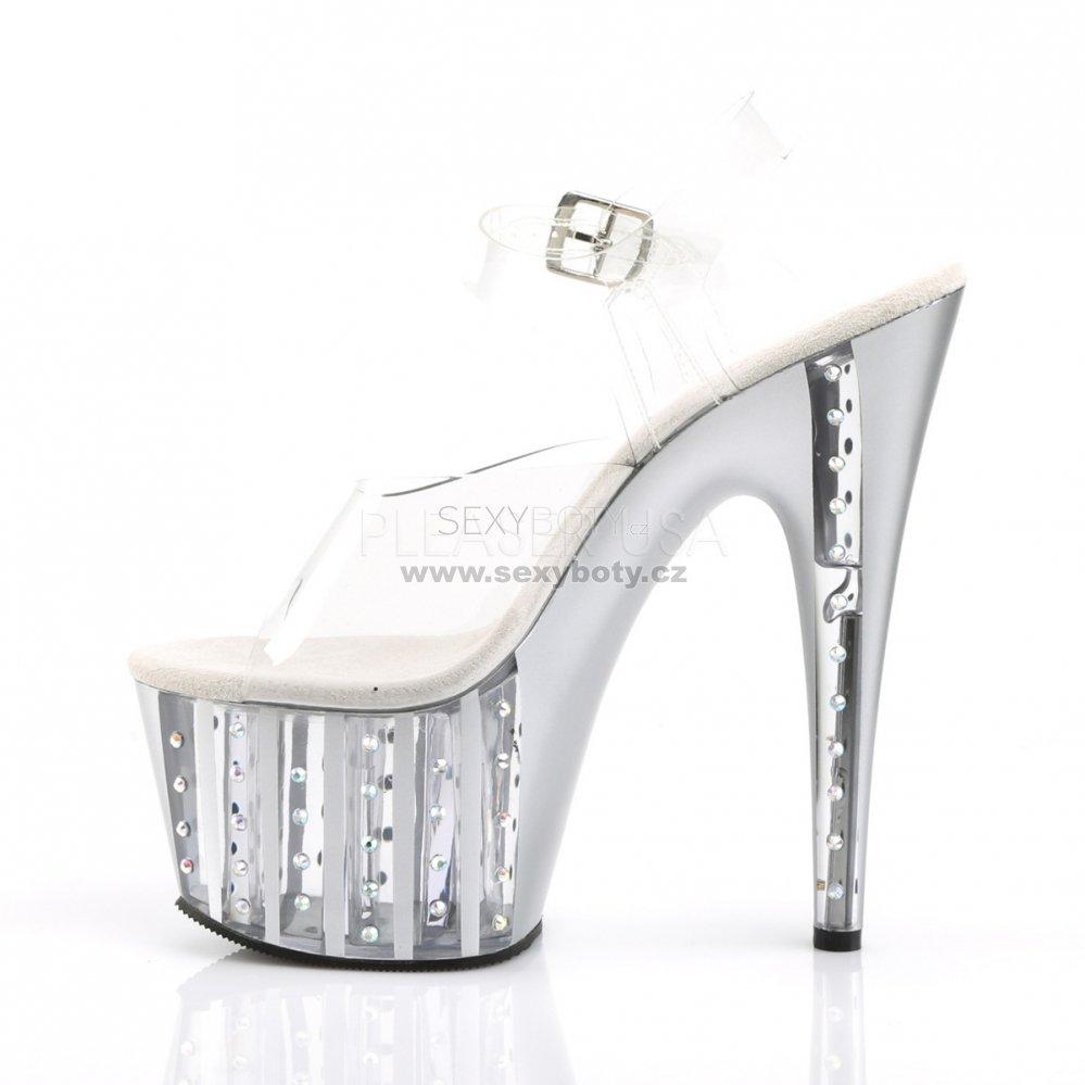 f1630ae103cf dámské stříbrné sandály na vysoké platformě s kamínky Adore-708vlrs-cs - Velikost  35
