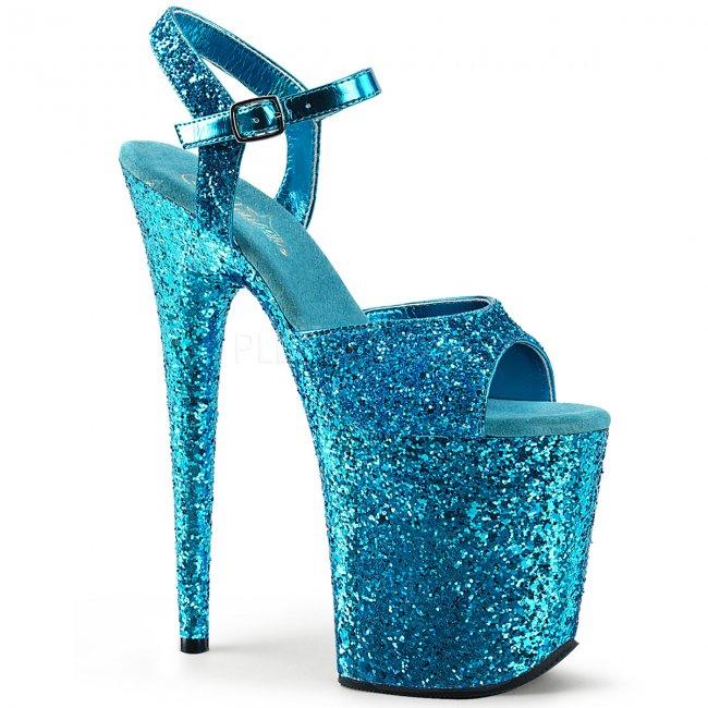modré boty na extra vysoké platformě s glitry Flamingo-810lg-aqg - Velikost 38