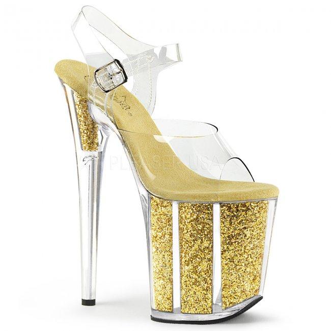 zlaté sandálky na extra vysoké platformě s glitry Flamingo-808g-cg - Velikost 36