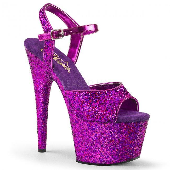 dámské fialové sandály s glitry na vysoké platformě Adore-710lg-ppg - Velikost 36