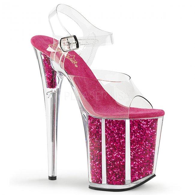 růžové boty na extra vysoké platformě s glitry Flamingo-808g-chp - Velikost 36