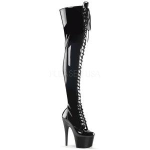 dámské černé kozačky nad kolena Adore-3023-b