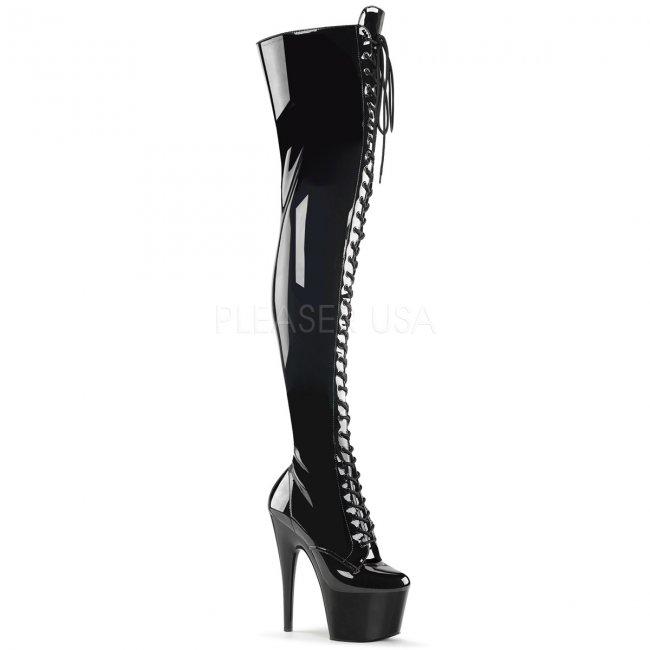dámské černé kozačky nad kolena Adore-3023-b - Velikost 37