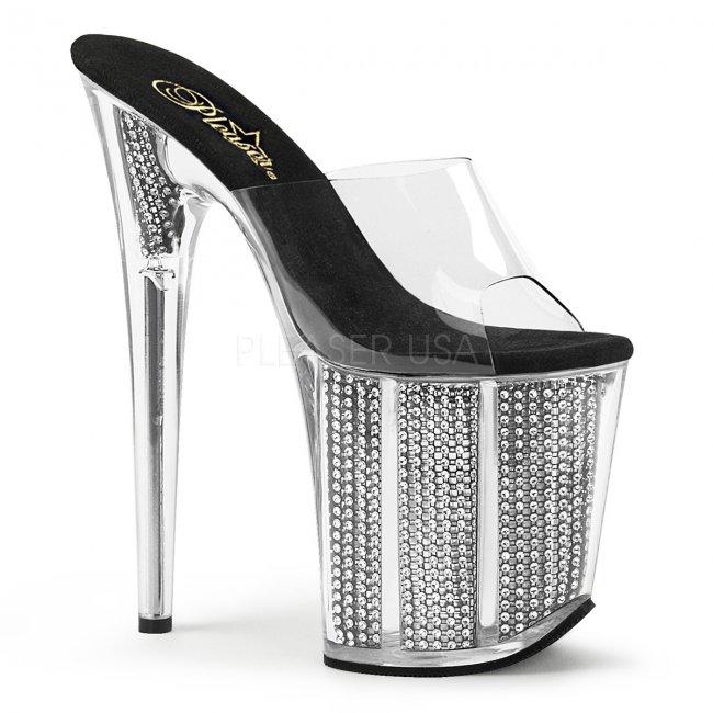 extra vysoké nazouvací pantofle s kamínky Flamingo-801srs-cb - Velikost 35