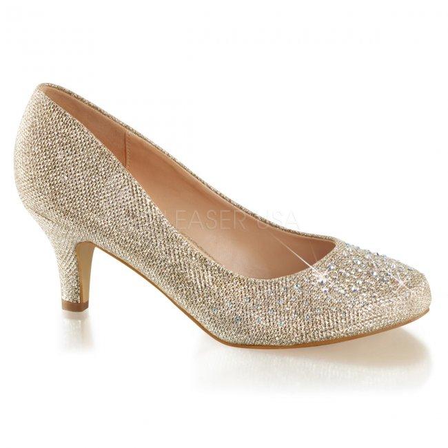 zlaté dámské lodičky s glitry a kamínky Doris-06-nugfa - Velikost 40