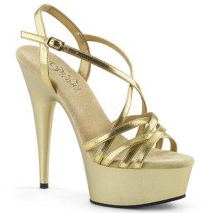 zlaté páskové sandálky na platformě Delight-613-gmpu