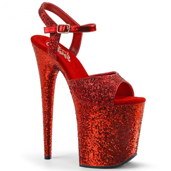 červené sandálky na extra vysoké platformě s glitry Flamingo-810lg-rg - Velikost 36