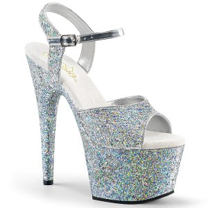 stříbrné dámské sandály s glitry na vysoké platformě Adore-710lg-sg