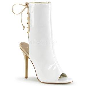 bílé dámské lakované sandálky Amuse-1018-wcr