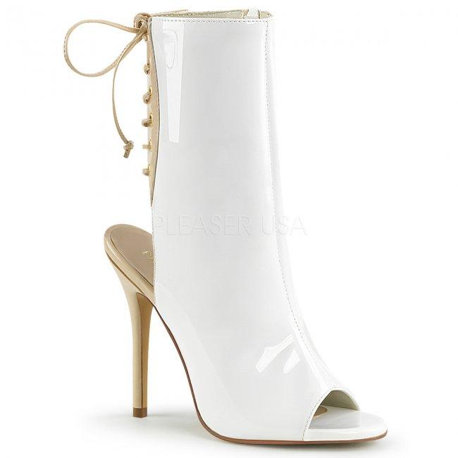 bílé dámské lakované sandálky Amuse-1018-wcr - Velikost 40