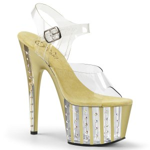 zlaté dámské sandály na vysoké platformě s kamínky Adore-708vlrs-cg