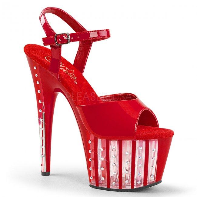 červené dámské vysoké sandálky s kamínky Adore-709vlrs-r - Velikost 38
