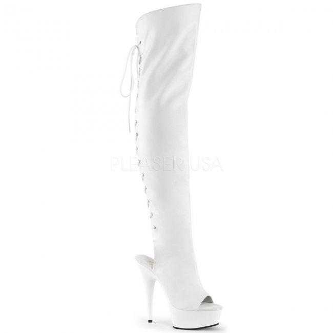 dámské bílé kozačky nad kolena Delight-3019-wpu - Velikost 38