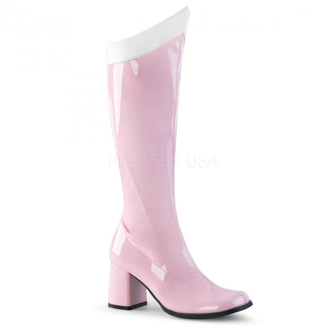 dámské růžové latexové kozačky pod kolena Gogo-306-bpw - Velikost 41