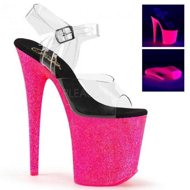 růžové extra vysoké UV boty na platformě s glitry Flamingo-808uvg-cnhpg - Velikost 38