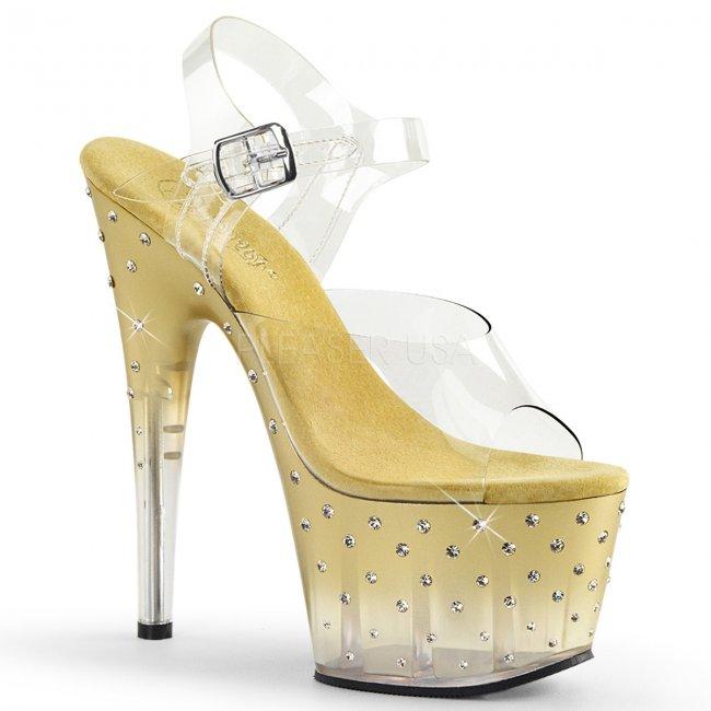 zlaté dámské vysoké sandálky s kamínky Stardust-708t-cgc - Velikost 36