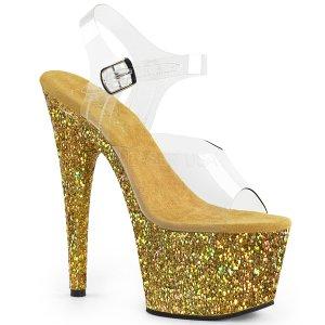 dámské zlaté sandály s glitry na vysoké platformě Adore-708lg-cgg