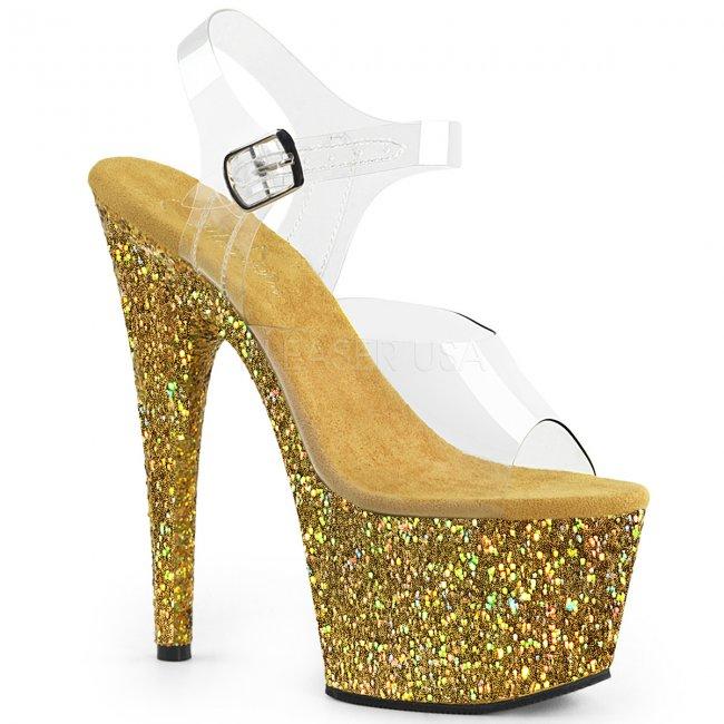 dámské zlaté sandály s glitry na vysoké platformě Adore-708lg-cgg - Velikost 36