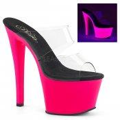 růžové vysoké dámské UV pantofle na platformě Sky-302uv-cnhp