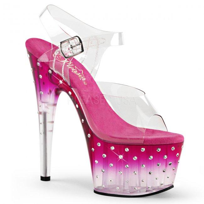dámské růžové vysoké sandálky s kamínky Stardust-708t-cpnc - Velikost 36