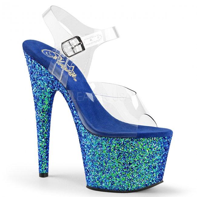 modré dámské sandály s glitry na vysoké platformě Adore-708lg-cblg - Velikost 36
